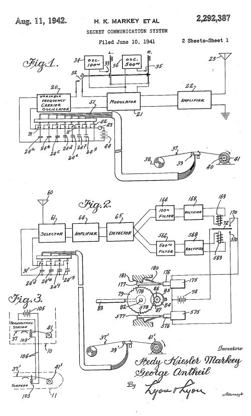 Patent for Hedy Lamarr's Secret Communincation System