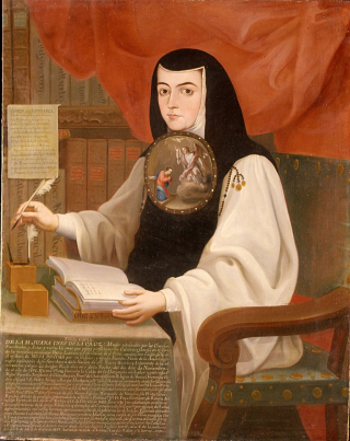 Painting of Sor Juana sat at desk with book and writing quill by Andrés de Islas (1772). Image in public domain
