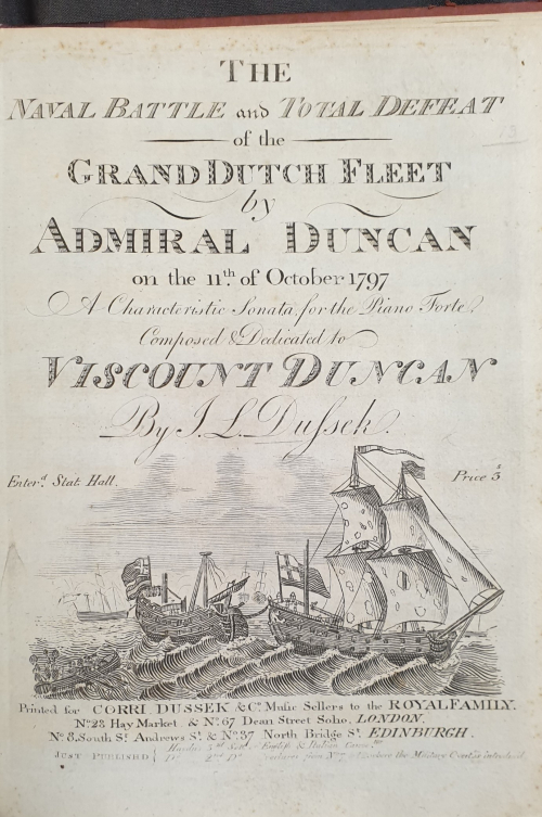 Title page of Corri, Dussek & Co.'s edition commemorating the The Battle of Camperdown depicting the defeat of the Dutch fleet