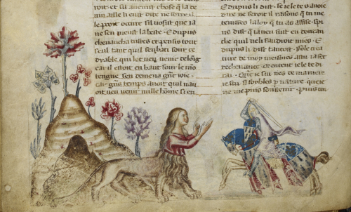 A page of a manuscript with a coloured illustration of a Sphinx leaving her cave and confronting a knight on horseback