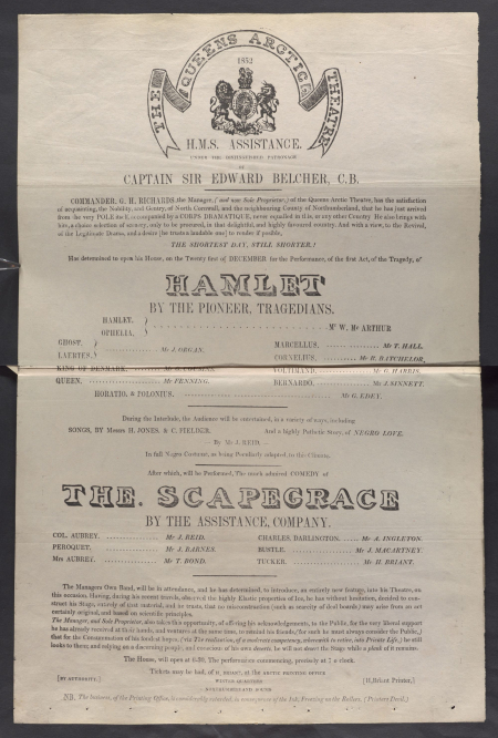 Playbill for the The Queens Arctic Theatre, 21 Dec 1852, HMS Assistance.
