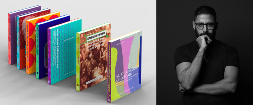 Split image with colour photograph of seven books standing up in a line on the left, and a black and white photograph of a man wearing spectacles on the right