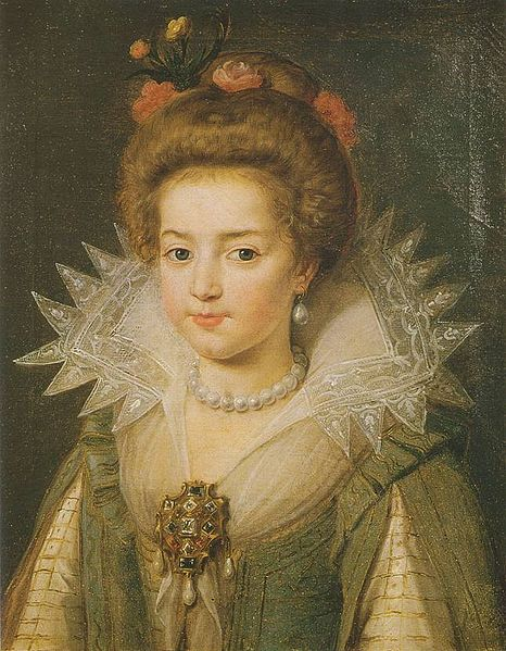 Portrait of Princess Christine Marie of France aged about 6, wearing an elaborate embroidered dress, pearls and jewels, and with flowers decorating her hair.