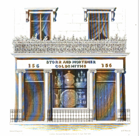 Shop front of Storr and Mortimer, goldsmiths, 156 Bond Street