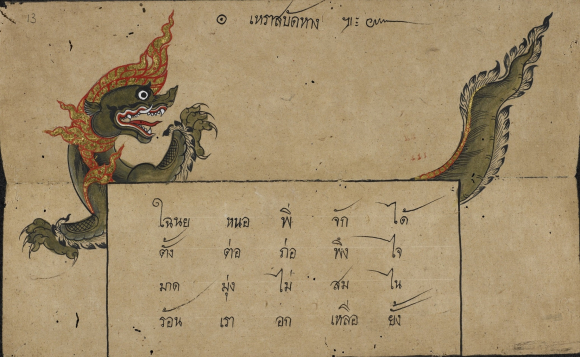 The poem Dragon flicking his tail illustrated in a folding book containing Konlabot poetry, Thailand, 19th century. British Library, Or 16102, f. 13