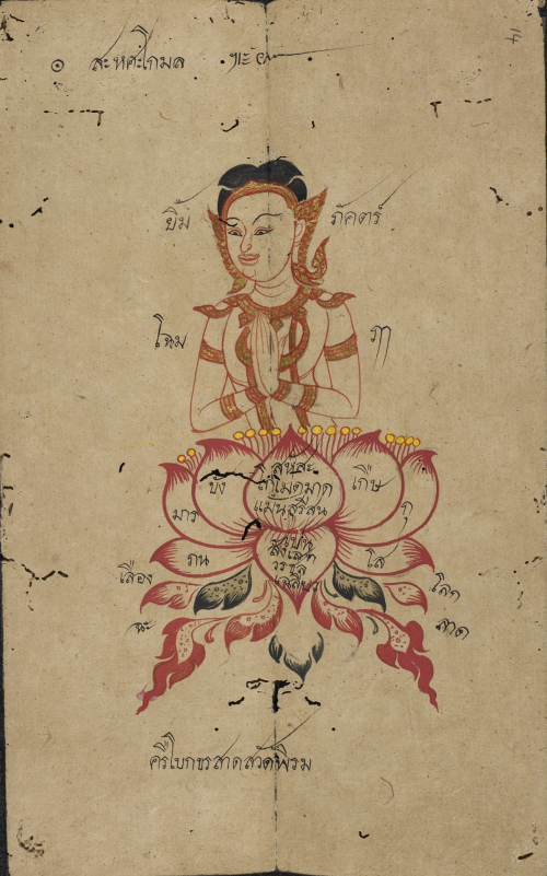 The poem Thousand lotuses illustrated in a folding book containing Konlabot poetry, Thailand, 19th century. British Library, Or 16102, f. 14