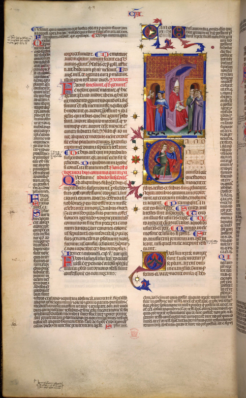 A text page with a miniature of a pope, clerics, and laymen with a money bag, from the beginning of Causa 14 in a copy of Gratian's Decretum