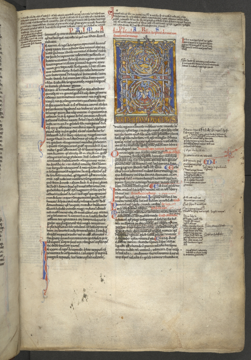 Full page with an illuminated 'Channel-style' initial 'H', in a copy of Gratian's Decretum
