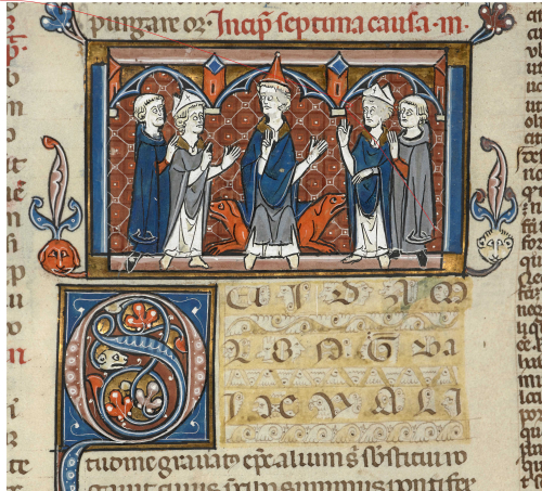 Manuscript illustration of a pope with two litigant bishops and their advisers, from a copy of Gratian's Decretum