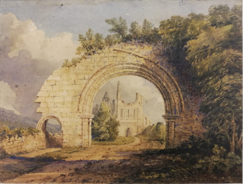 A watercolour, showing a gateway, with behind it the ruins of an abbey, representing Byland.