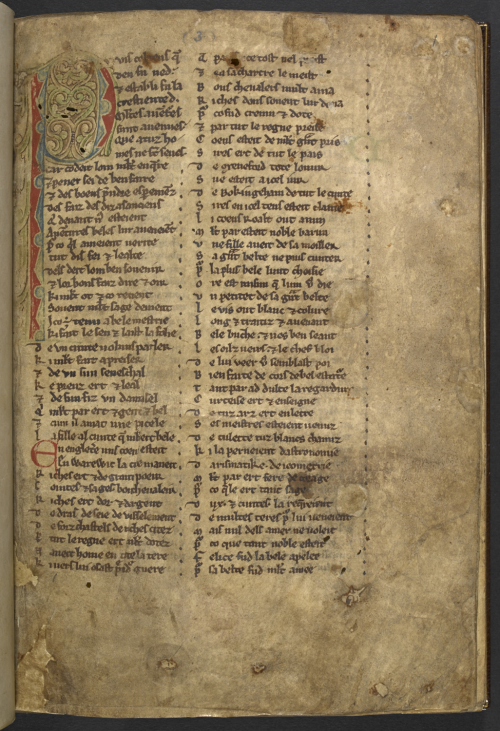 The opening page of the Anglo-Norman romance, Gui de Warwik