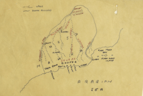A tracing of a map of the western boundary of Dhofar  Oman  originally drawn by Bertram Thomas  circa 1930