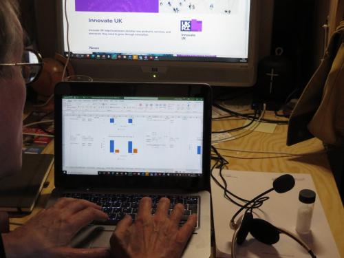 Edward reviewing laboratory data