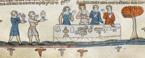A medieval illustration of a feast scene in the Smithfield Decretals