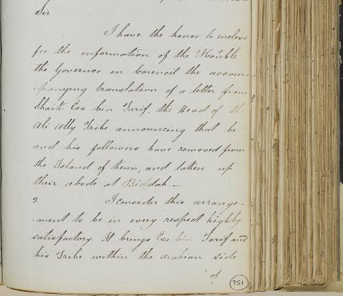Letter from Captain Samuel Hennell about 'Isa bin Tarif settling at al-Bid
