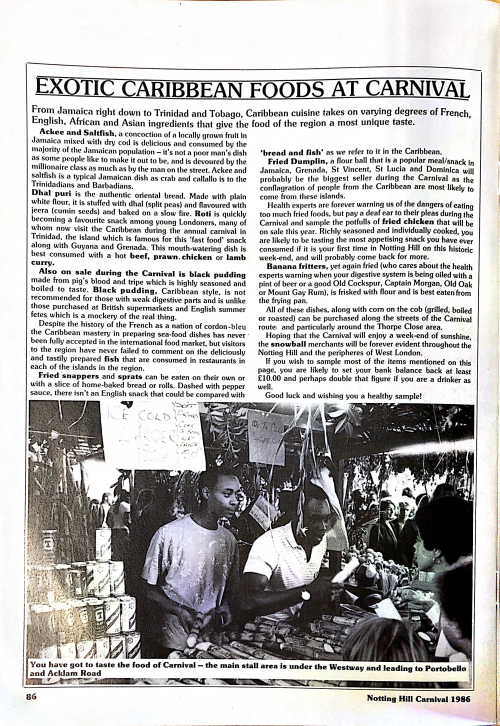 Article text with a black and white photo of a stall selling sugarcane and Red Stripe beer