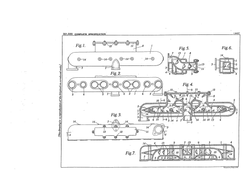 Illustration from patent GB381588A Improvements in or relating to vaporizers for internal combustion engines
