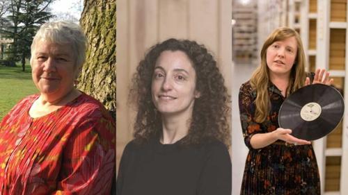 Portrait photographs of Sue Thomas, Irini Papadimitriou and Cheryl Tipp