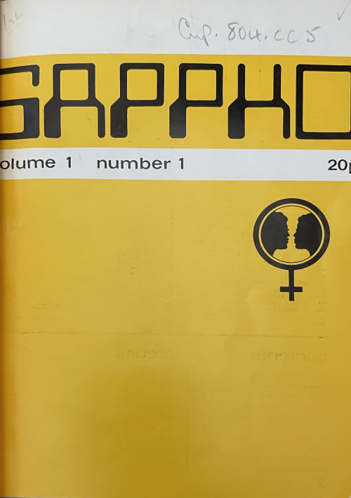 Sappho magazine cover. Yellow with the magazine name in large black letters and a small Venus symbol in black with two faces in profile inside the circle.