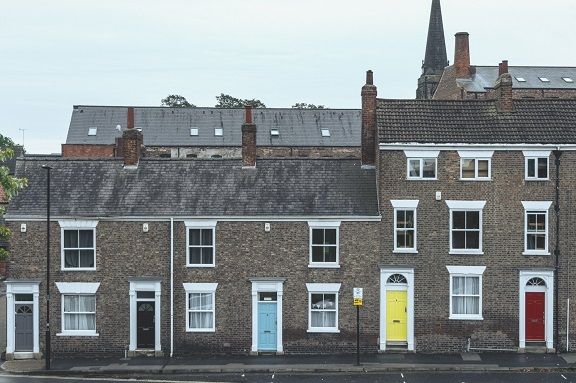 Row of brick houses in London