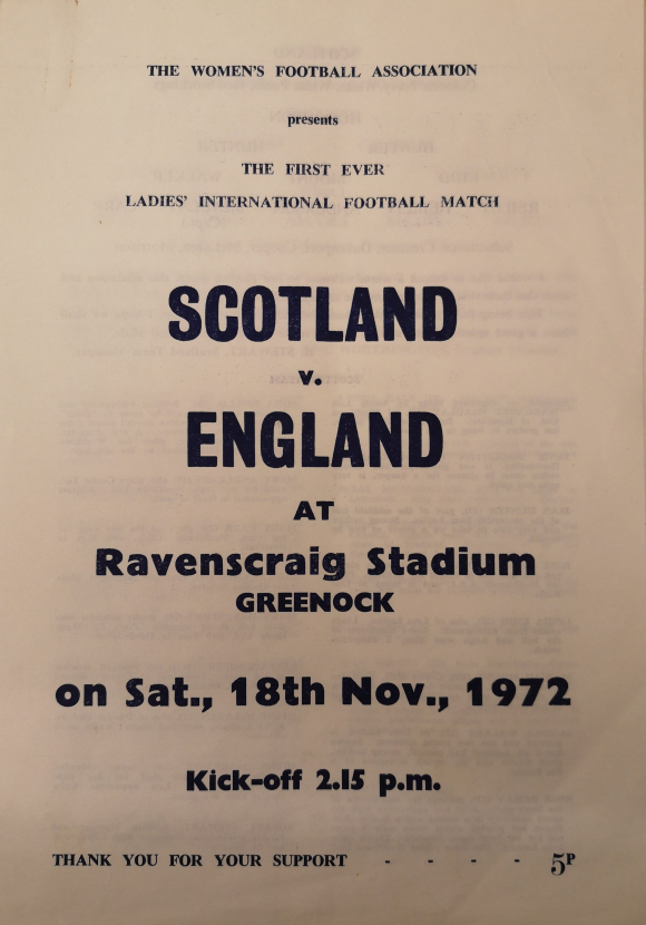 Programme for the first ever international football match for the England team who played Scotland at Ravenscraig Stadium on 18 November 1972