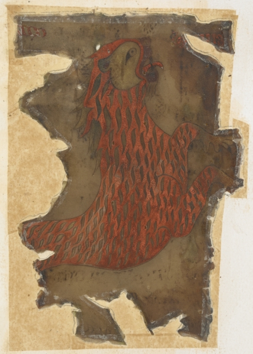 Medieval illustration of the lion of St Mark, darkened and damaged by fire