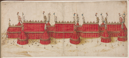 A design for the red tents erected for King Henry VIII at the Field of Cloth of Gold