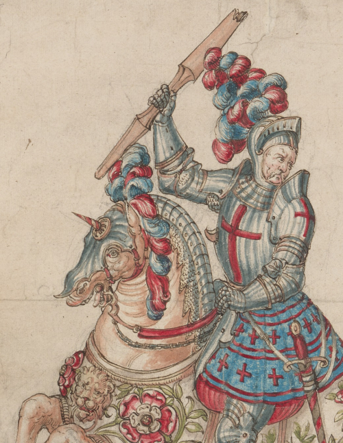 A detail of a coloured manuscript drawing showing an armoured knight holding a lance and sitting on a horse