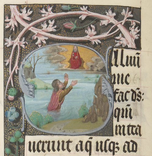 A figure submerged in water to the waist, holding up his arms in supplication before God