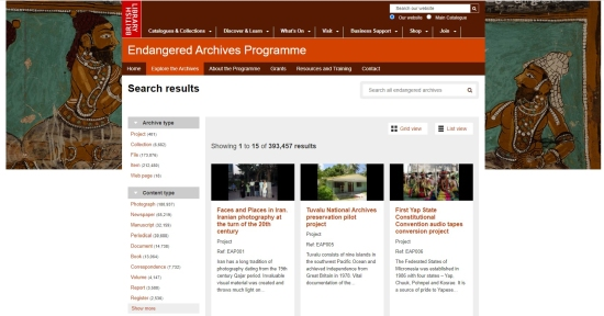 Screenshot of the EAP website showing the various project pages