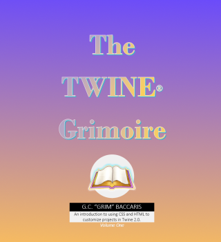 Cover image of The Twine grimoire 1, with an image of an open book