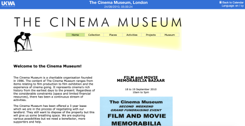 The Cinema Museum website 2010