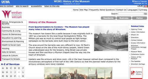 Wrexham Museum website
