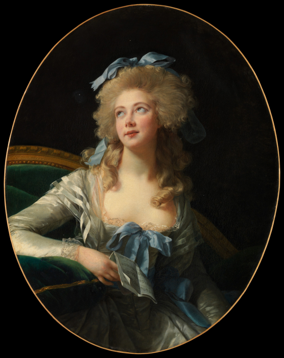 Painting of Madame Grand wearing a white dress decorated with blue ribbons, with a matching ribbon in her blonde hair