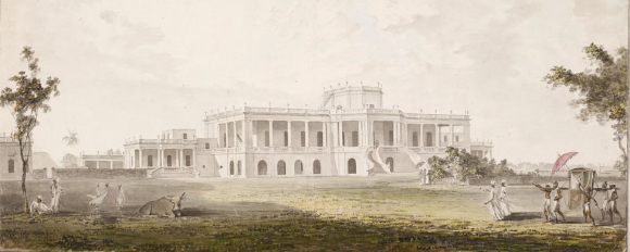 The garden front of Ghireti House, near Chandernagore,Bengal - a large white house standing in open space. A lady is arriving being carried in a chair by Indian men