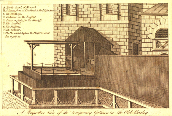 View of the scaffold and gallows outside the north quad of Newgate Prison; a screen on the right leading up to entrance to scaffold  with gallows over platform.