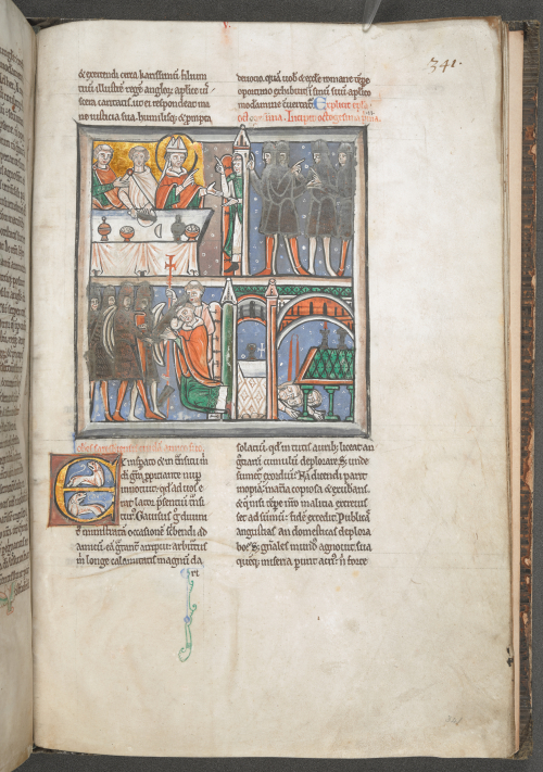 Medieval manuscript page with the story of Becket's murder told in four scenes