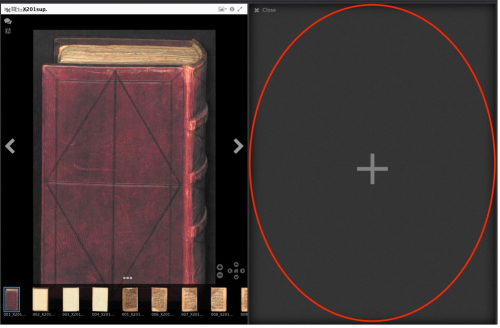 Screen shot with a book with a red binding atop thumbnails of pages on the left-hand side and a dark grey area with a red-outlined oval on the right-hand side