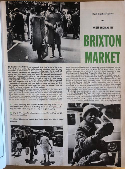 B&W article about Brixton Market with photos and text