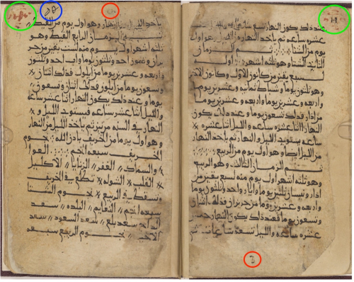 Double page spread of manuscript on off-white paper with writing in Arabic script in black ink, with several features highlighted by red, green and blue circles placed over the text