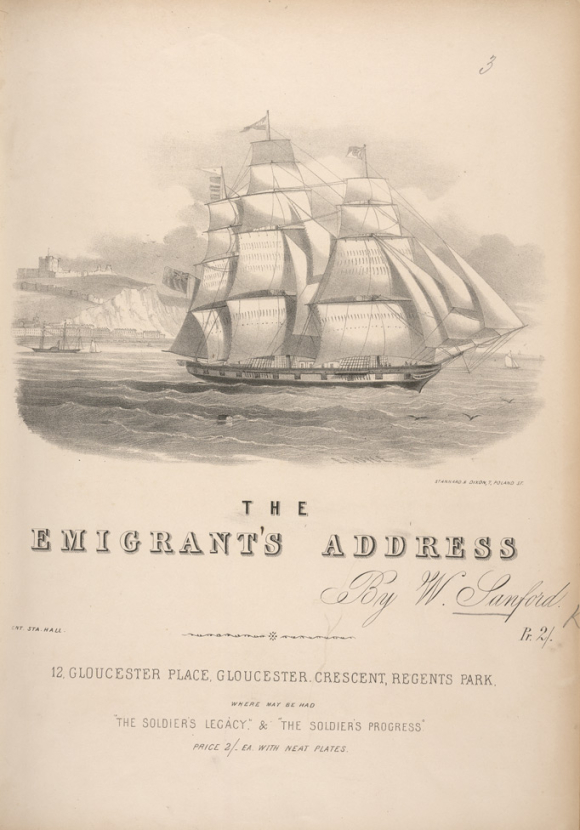 The Emigrant's Address - Illustrated cover of printed music showing a sailing ship