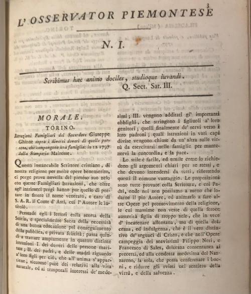 First issue of Osservator Piemontese