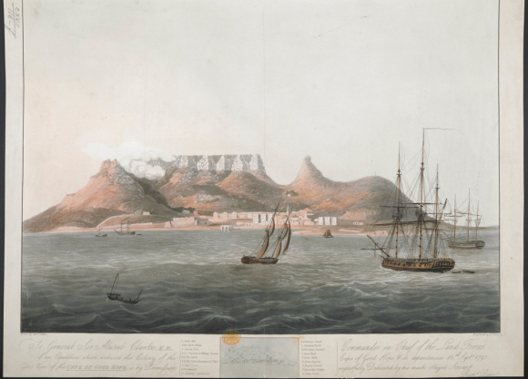 View of the Cape of Good Hope from the sea with sailing ships in the foreground