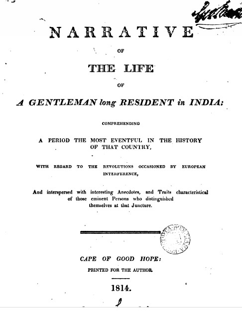 Title page of Narrative of the life of a gentleman long resident in India