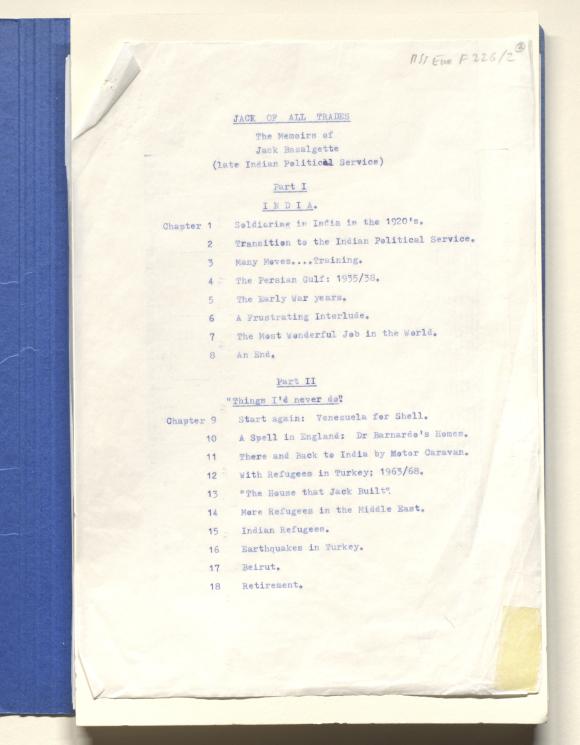 Contents page from John Bazalgette's memoir