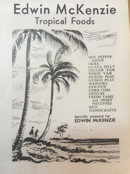 Black and white advert with palm tree and lists of produce e.g. Guava jelly