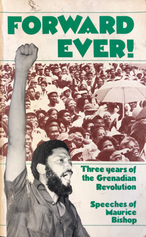 Book cover with photograph of Maurice Bishop and a crowd people