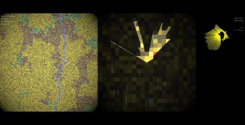 Screen image of Faint Signals abstract virtual woodland