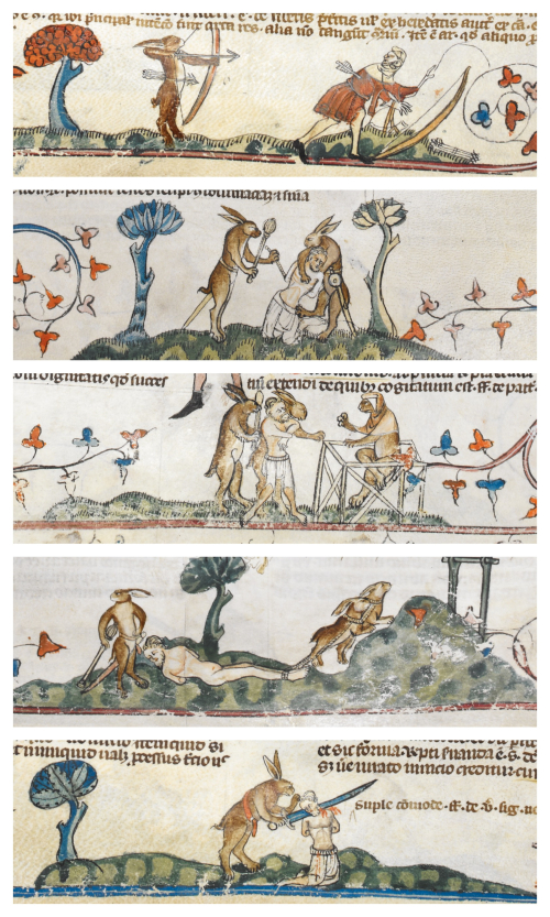 Collage of images from the Smithfield Decretals in which rabbits capture, try and execute a hunter