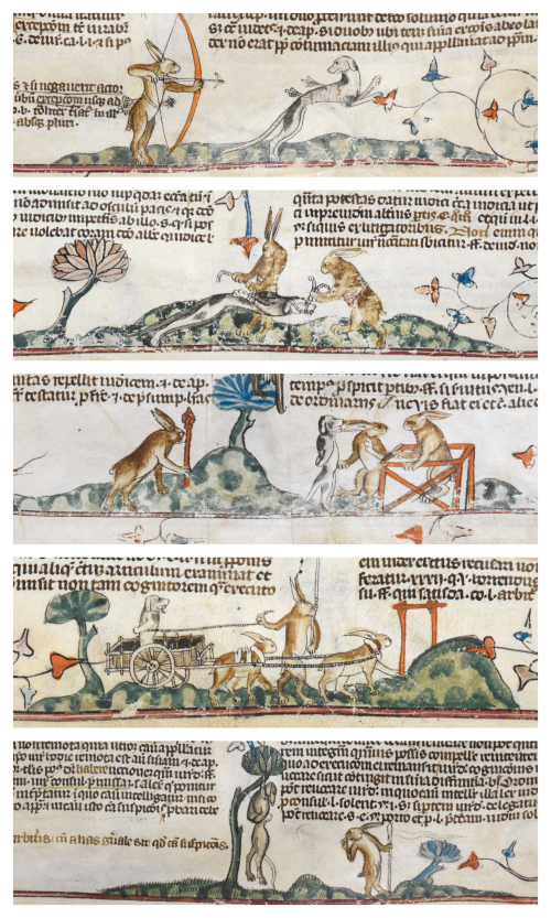 Collage of images from the Smithfield Decretals in which rabbits capture, try and execute a hound